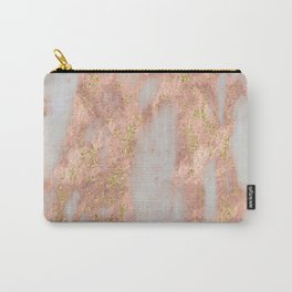 Rose Gold Marble with Yellow Gold Glitter Carry-All Pouch