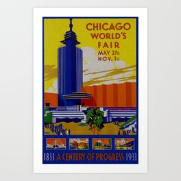 Vintage Chicago World's Fair 1933 Art Print