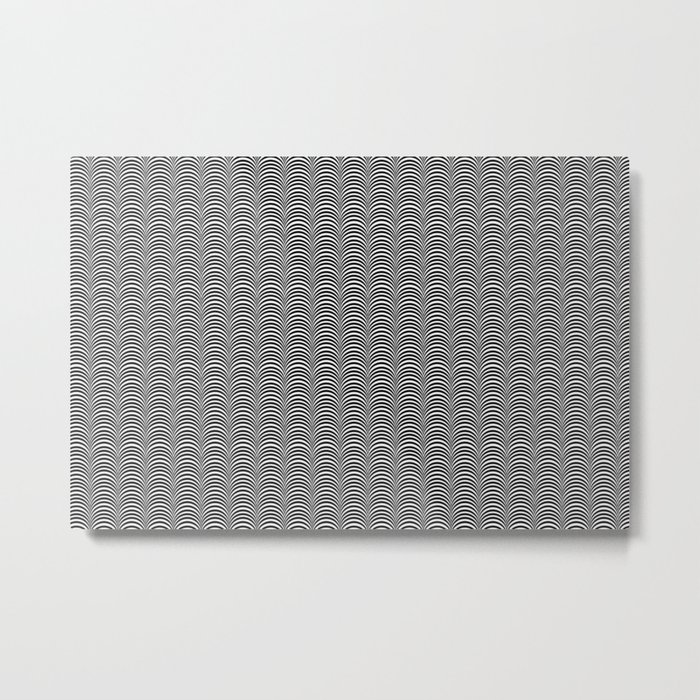 Black and White Scallop Line Pattern Digital Graphic Design Metal Print