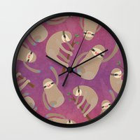 sloths Wall Clocks featuring Happy Little Sloths by ponychops