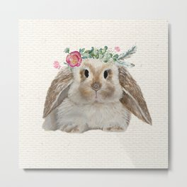 Floral Crown Bunny on Burlap Metal Print