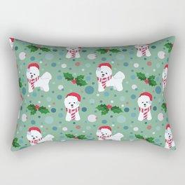 Bichon Frise dog Christmas pattern Rectangular Pillow