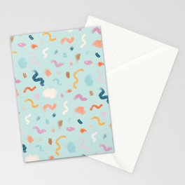 Abtract Colorful Brush Pattern Stationery Cards