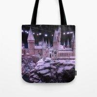 hogwarts Tote Bags featuring Hogwarts by Samantha Van Prooyen