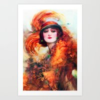 Women with Green Eyes Art Print