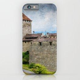 Vaduz Castle Digital Oil Painting iPhone Case