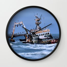 Shipwreck on the Coast of the Skeletons, Namibia Wall Clock