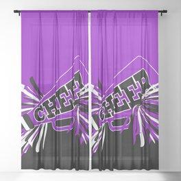 Purple, Black and White Cheerleader Design Sheer Curtain