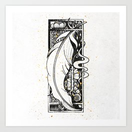 Wing Feather Inktober :: Bronzed Angels Barefoot Art Print