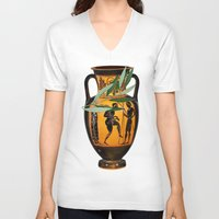 greek V-neck T-shirts featuring Ancient Greek by Fifikoussout
