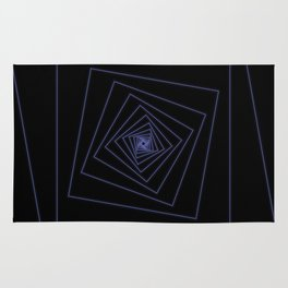 Ride the Spiral - Blue Neon Squares Rug