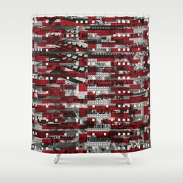 Nothing Is Accomplished (P/D3 Glitch Collage Studies) Shower Curtain