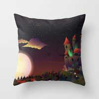 the neighbourhood Throw Pillows featuring Creepy Neighbourhood by Anne Elster