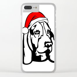 Basset Hound Dog with Christmas Santa Hat Clear iPhone Case