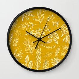 Golden Nature / hand drawn herbs Wall Clock