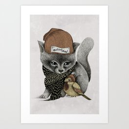THE CAT AND THE BIRD Art Print