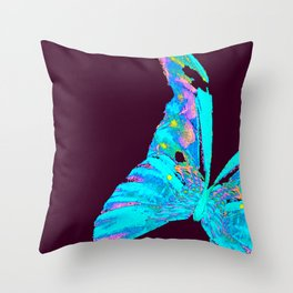 Turquoise Butterfly On A Dark Background #decor #society6 #buyart Throw Pillow