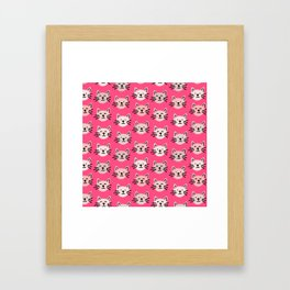 Cute cat pattern in pink Framed Art Print