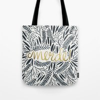 french Tote Bags featuring Pardon My French – Black & Gold by Cat Coquillette