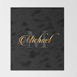 Name and initial of a boy Michael in golden letters Throw Blanket