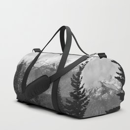 Snow Capped Sierras - Black and White Nature Photography Duffle Bag
