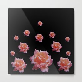 ROMANTIC ANTIQUE PINK ROSES ON BLACK Metal Print