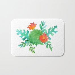 Watercolor cactuses and leaves Bath Mat