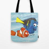 nemo Tote Bags featuring Finding Nemo by Larissa