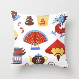 China viajes símbolos de la cultura tradicional china patrón transparente ilustración vectorial Throw Pillow