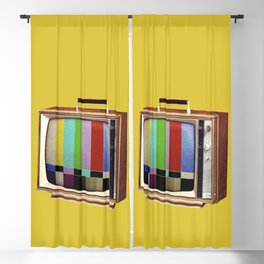 Retro old TV on test screen pattern Blackout Curtain