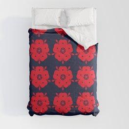 Japanese Samurai flower red pattern Comforters