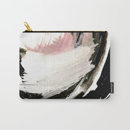 Crash: an abstract mixed media piece in black white and pink Carry-All Pouch