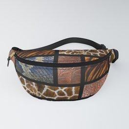 Mondrian animal skin. Tiger, Crocodile, tiger and giraffe skin. Fanny Pack