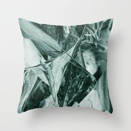 Green Abstract Eagle Nest Throw Pillow