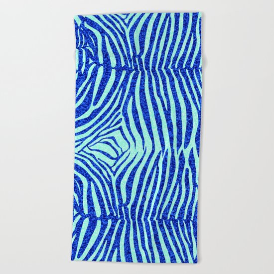 Blue Glitter Zebra Print Beach Towel