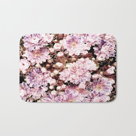 Rose And Gold Floral Bath Mat