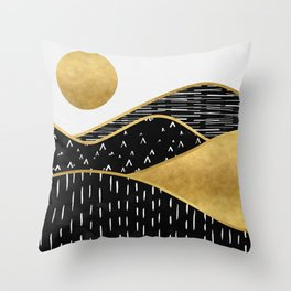 Gold Sun, digital surreal landscape Throw Pillow