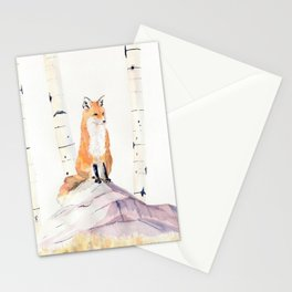 Fox and Birch Trees Stationery Cards