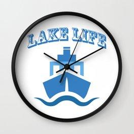 Lake Life Boat Funny Sailing Gift Men Women Wall Clock
