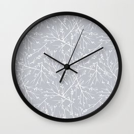 Botanical, Twigs and Leaves, Floral Prints, Light Gray Wall Clock