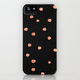 Rose Gold Dots on Black Pattern iPhone Case