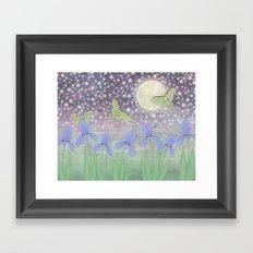 luna moths around the moon with starlit irises Framed Art Print