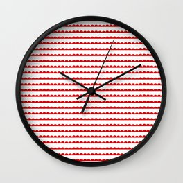 Red Scallop Wall Clock