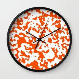 Spots - White and Dark Orange Wall Clock
