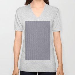Pantone Lilac Gray Double Scallop Wave Pattern Unisex V-Neck