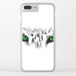 Wolf Green Eyes Clear iPhone Case