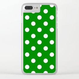 Polka Dots - White on Green Clear iPhone Case