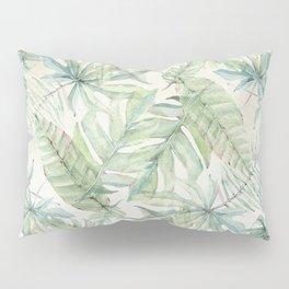 Green Tropical Leaves Pillow Sham