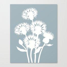 Cornflower in Dusky Blue - Original Floral Botanical Papercut Design Canvas Print