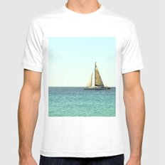 Sail Away with Me - Ocean, Sea, Blue Sky and Summer Sun White MEDIUM Mens Fitted Tee